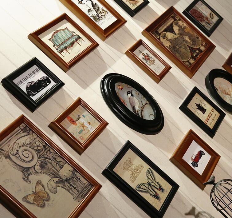 16 pcs/set Collage Photo Frame Set,Vintage Picture Frames,Porta Retrato Moldura,Family Picture Frame Wall,Wedding Photo Frames