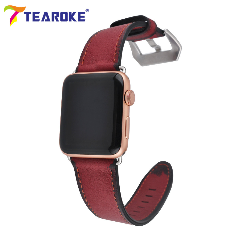 TEAROKE Genuine Leather Watchband For Apple Watch 1 2 3 38mm 42mm Red Brown Series Women Men Replacement Strap Band for iwatch мужские часы festina f16777 2