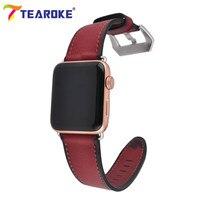 TEAROKE Genuine Leather Watchband For Apple Watch 1 2 3 38mm 42mm Red Brown Series Women