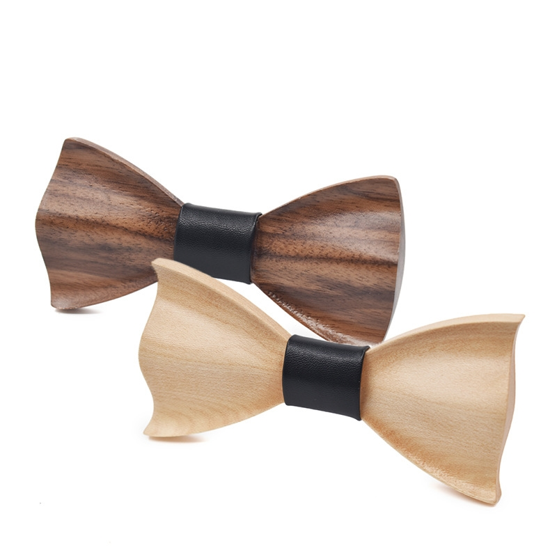 High-end 3D Wedding Bowtie, Mens Fashion Wedding Party Wooden Tie, Three-dimensional DIY Tie