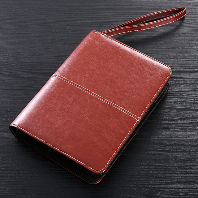 81cde07f59c3 US $28.99 |Business Portfolio Padfolio Folder Document Case Organizer A5 PU  Leather Notebook Planner with zipper handle Office Organizer-in Padfolio ...