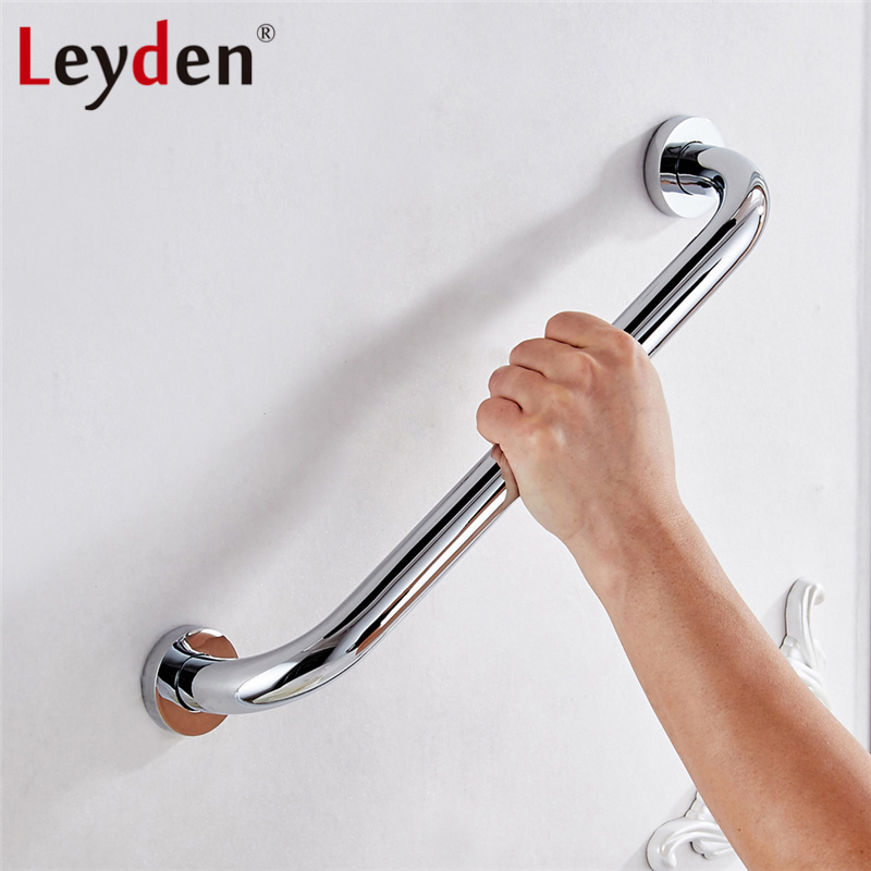 Leyden 30-50cm Silver Chrome Grab Bar Safety Handle Wall Mount Copper Handrail Safety Bar for Bathroom Handle Bathroom Accessory