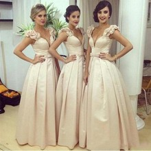 Champagne Pleat Cap Sleeve Bridesmaid Dresses Bow A-Line Long Deep V Neck Wedding Party Guest Prom Gowns 2017 dames jurken PB67