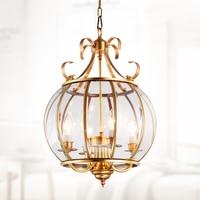 European style pendant lamps full copper lighting study bedroom restaurant solder lamp garden pumpkin pendant lights ZA626 ZL161