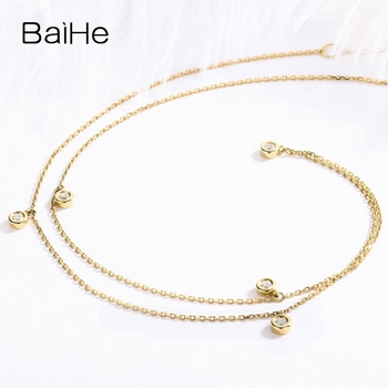 BAIHE Solid 18K Yellow Gold Certified H/SI 0.15ct Round cut Natural Diamonds Women Fine Diamond Jewelry Trendy Wedding Necklaces 2
