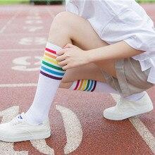 87848c4105b 3 Color 1Pair Thigh High Socks Over Knee Rainbow Stripe Girls Comfortable  Socks Black White Sock
