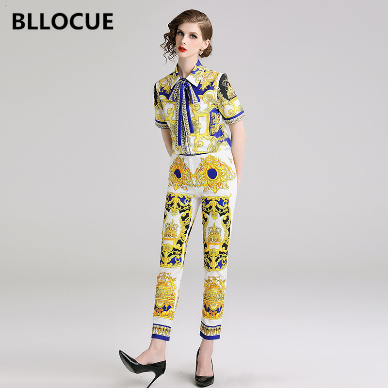BLLOCUE High Quality 2019 Fashion Designer Runway Suit Set Women s Short Sleeve Bow Vintage Print