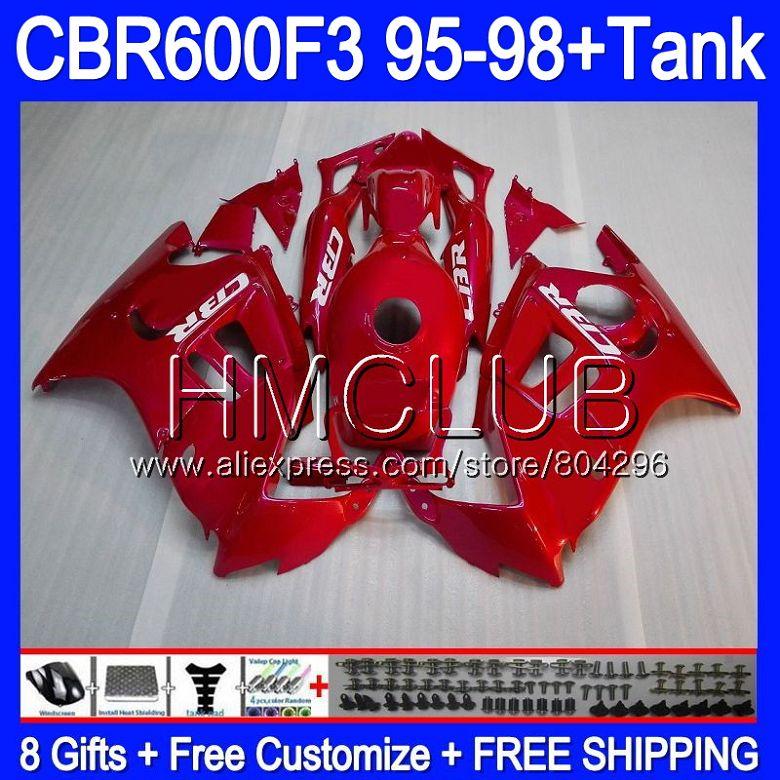 Corps rouge Brillant Pour HONDA CBR 600F3 FS CBR 600 F3 95 96 97 98 59HM. 2 CBR600FS CBR600 F3 CBR600F3 1995 1996 1997 1998 Carénage