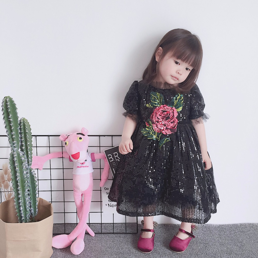 in stock 2018 new brand Kids Girls Long Formal Evening Prom Party Floral Dress Children Luxury Girl Black Wedding Dress