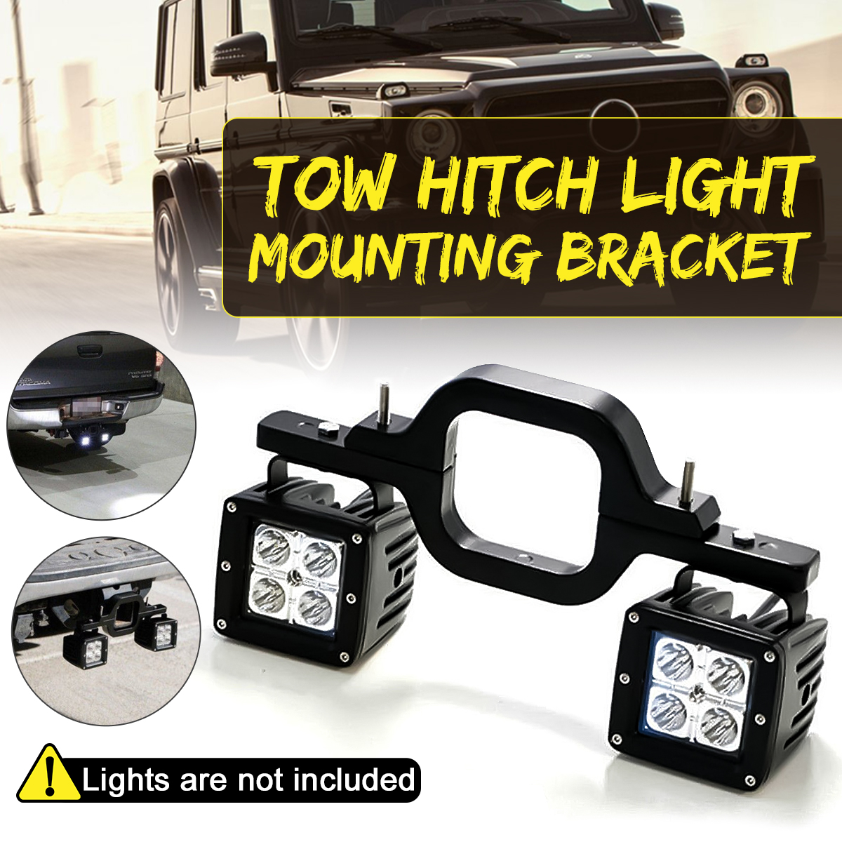 Universal Car Tow Hitch Light Mounting Bracket For Dual LED Backup Reverse Off-Road Truck SUV Tow Hitch Light Mounting Aluminum