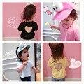 2016 марка мультфильм новорожденных девочек футболки дети футболки детские летние топы для 0-4Years Подросток одежда девочки тис назад сердце