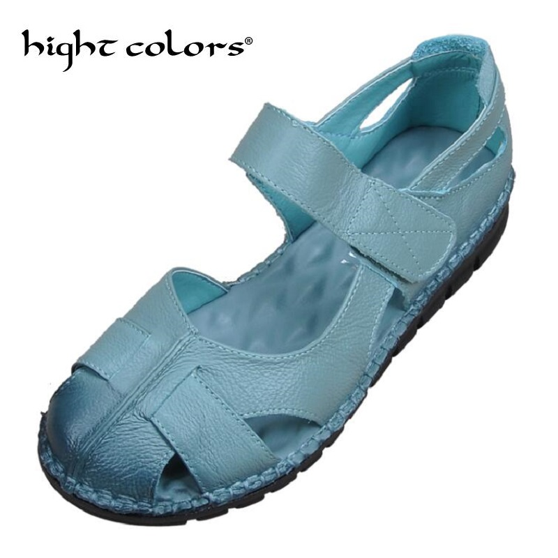 2018 Summer Vintage Handmade Sandals Female Genuine Leather Shoes Hollow Out With Flat Soft Bottom Non-slip Large Size 40 43 2016 summer style transparent sandals white gauze flat point diamond women s sandals flat shoes non slip soft bottom shose