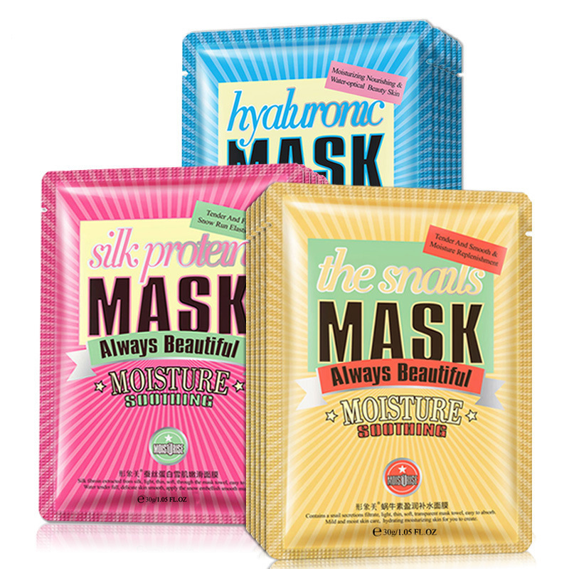 Hyaluronic Acid Snail Silk Protein Fabric Face Mask Moisturizing Whitening Facial Masks Oil-control Acne Anti-aging Skin Care