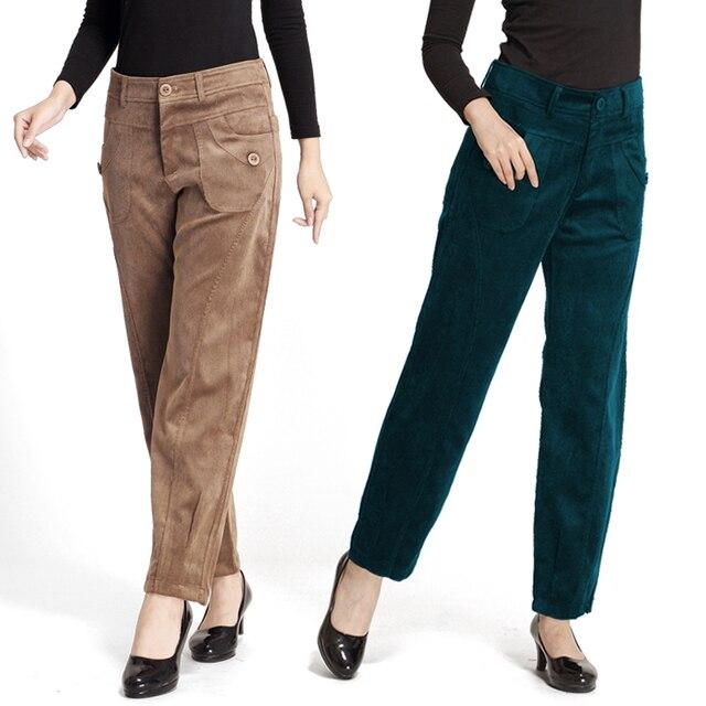 2017 autumn pants new high waist fashion stripe pants radish pants loose corduroy pants fat mother Big code casual trousers T566