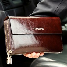 Hot Sale! Luxury Shining Oil Wax Cowhide leather Men Clutch Bag
