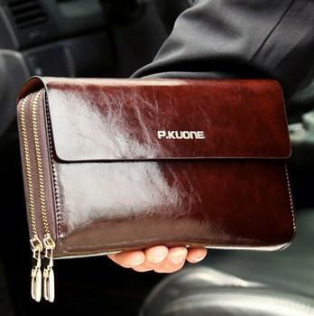 Venda quente! Luxo brilhante cera de óleo couro do couro dos homens bolsa de embreagem longo couro genuíno carteira dupla camada saco de embreagem negócios