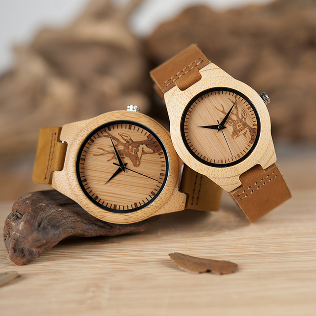 BOBO BIRD Wooden Watch Lovers Engrave Deer Bamboo Dial Quartz Wristwatch with Genuine Leather Band in Gift Box 4