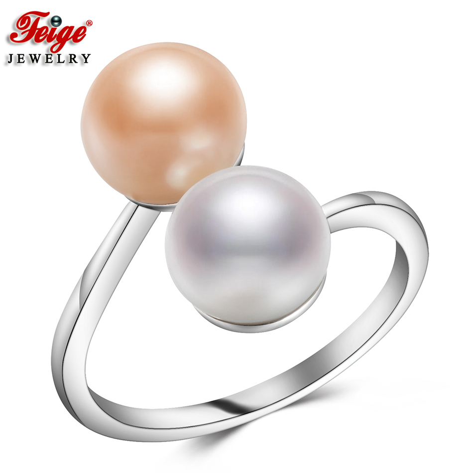 Traditional Design Two Colour Pure Pearl Rings For Ladies Occasion Jewellery 8-9Mm Freshwater Pearl Ring Superb Jewellery Dropshipping Feige