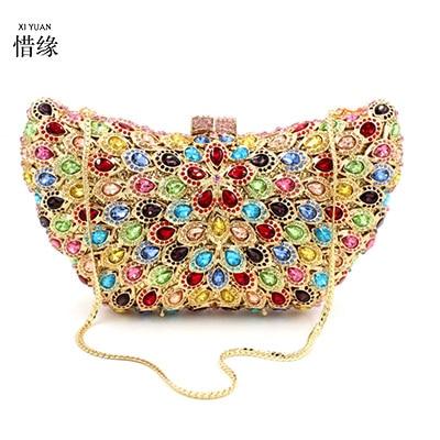 XIYUAN tout nouveau sophistiqué cristaux sac de soirée strass fermoir pochette pour femmes sacs Baguette portefeuilles en gros sac à main de fête