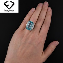 Luxury Topaz Engagement Sapphire Ring S925 Sliver sterling Bague Jaune of Bizuteria Turquoise Gemstone for Women Jewelry Rings