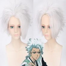 BLEACH Hitsugaya Toushirou Men's Short Silver White Cosplay Wig Synthetic Puffy Hair For Halloween Anime Costume цена 2017