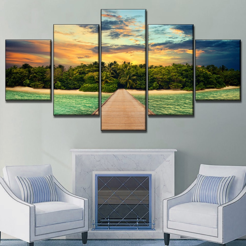 Island Ocean Painting On Canvas HD Print One Set 3 Piece Modular Combinatorial Art Dock Landscape Picture Modern Home Decor in Painting Calligraphy from Home Garden