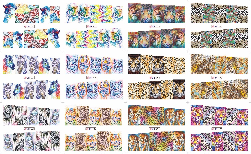 En solde!! 1 Lot = 50 feuilles 12 en une feuille nouveau Style Nail Art eau autocollant grain animal coloré en 2016 pour BN085-096