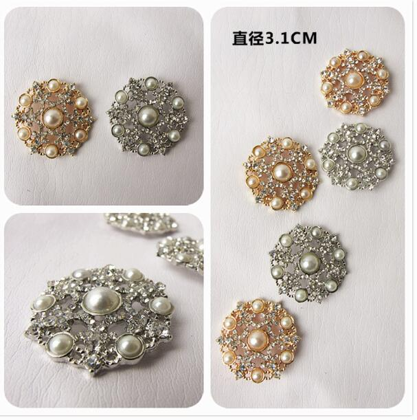 POVUOP Crystal Pearl Button 31mm  Exclusive Original Retro Palace Pearl Diamond Drill Coat Button New Style