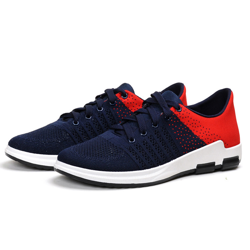 fashion New men 's casual shoes lace fashion brand spring and summer shoes flat shoes men' s breathable shoes black gray red stylish men s casual shoes with breathable and metal design