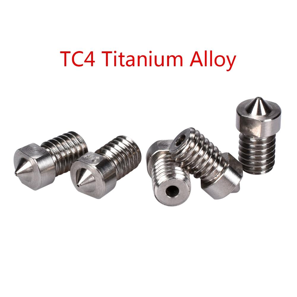3D TC4 Titanium Alloy Nozzle V5 V6 Nozzle 3D Printer Parts J-head Hotend  Extruder RepRap 1 75MM Filament 0 3/0 4/0 6/08/1 0MM