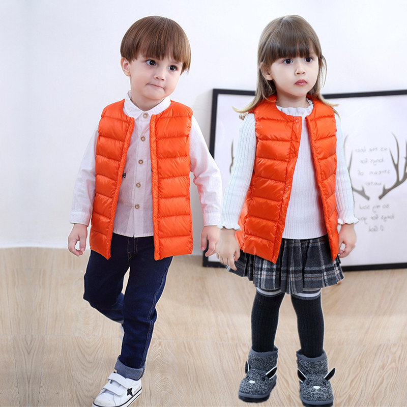 2019 autumn and winter light children 39 s down vest Boys and girls neutral collarless down vest Baby warm windproof vest black in Down amp Parkas from Mother amp Kids