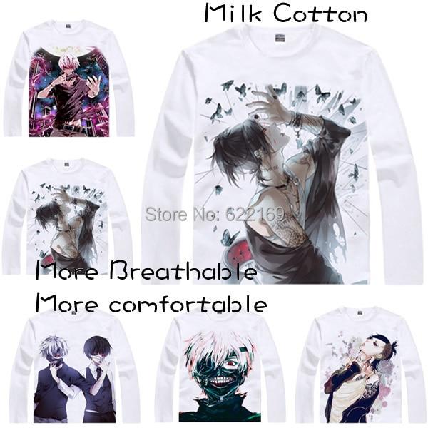2015 패션 남성 단품 애니메이션 T 셔츠 3d 프린트 Tokyo Ghoul 켄 가네 키 롱 슬리브 캐주얼 코스프레 T 셔츠 Camisetas Masculina