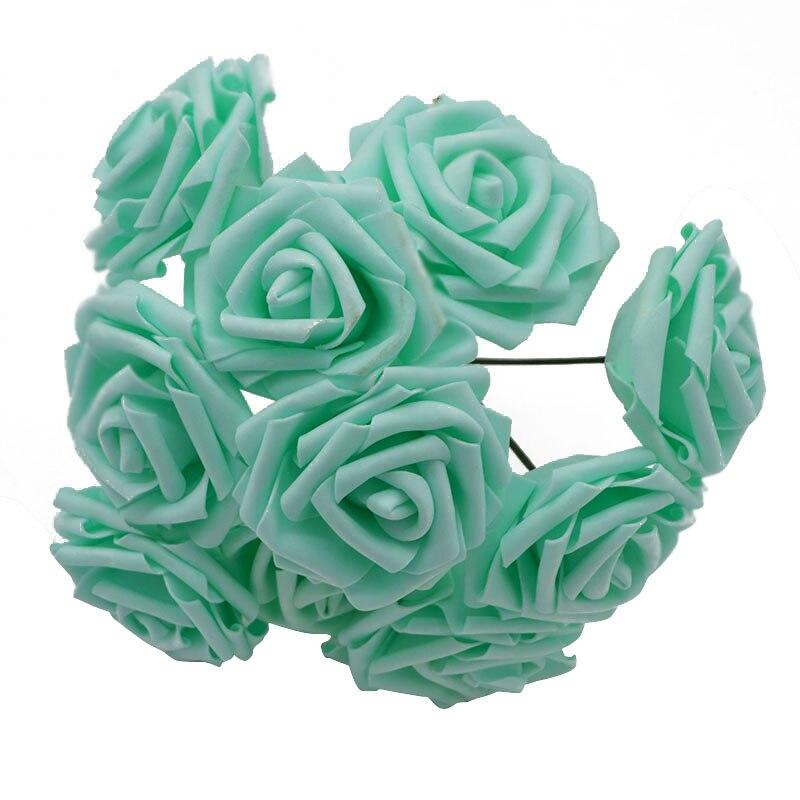 10 шт. 8 см большие ПЭ пенные цветы искусственные розы цветы Свадебные букеты Свадебные украшения для вечеринки DIY Скрапбукинг Ремесло поддельные цветы - Цвет: mint green no leaf