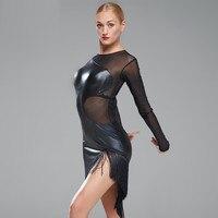 Artificielle noir robes en cuir pour danse Dress à de danse latine de Femmes de danse dress rumba latine dress Vêtements latino salsa