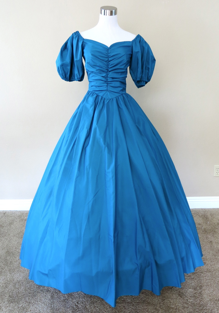 Teal Ruched Gown Civil war costume renaissance dress satin dres