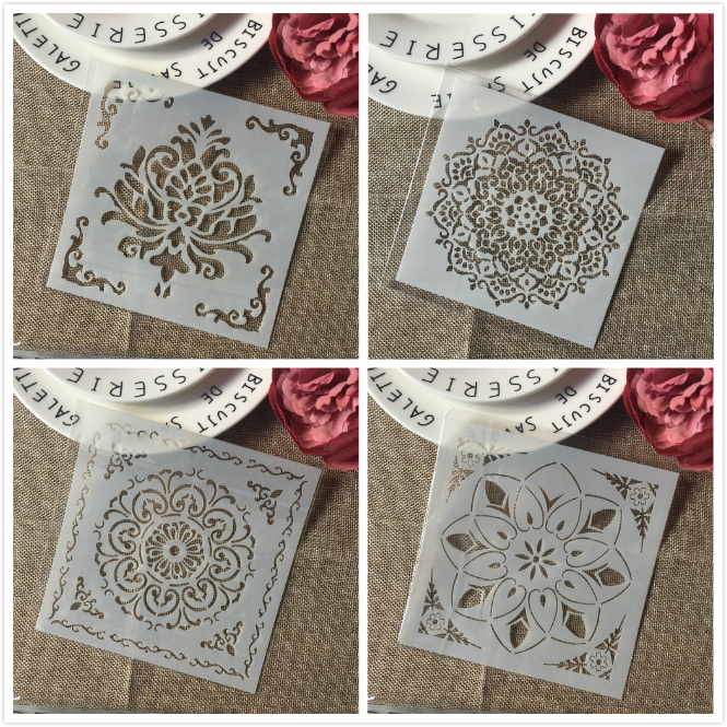 4Pcs 6*6inch Square Frame Background DIY Layering Stencils Painting Scrapbook Coloring Embossing Album Decorative Card Template