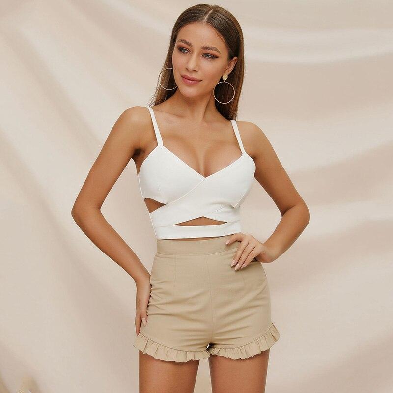 Breathable Summer Shorts Women Streetwear Sexy Ruffles Short Feminino Mid Waist Beige Skinny Shorts Mujer With Zipper Hcy079