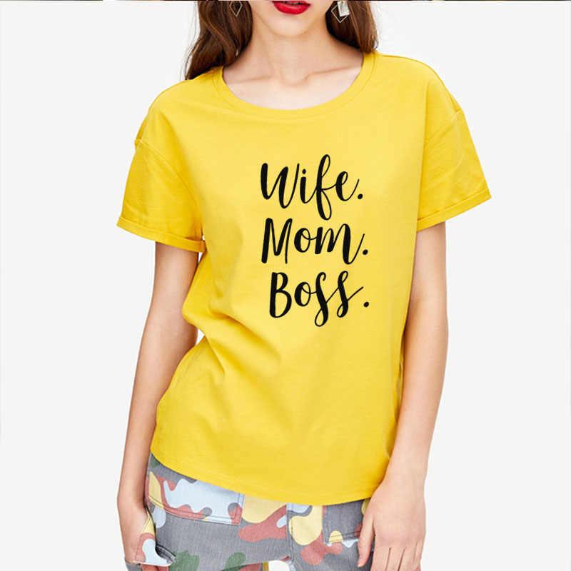 Segunda mitad de precio esposa mamá jefe letras estampadas mujeres camiseta algodón Casual divertida camiseta para señora chica camiseta hipster de la nave de la gota