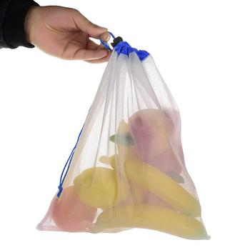Pokich 12pcs Reusing Eco-friendly Reusable Grocery Produce Bags Stop Wasting Plastic Mesh Bags For Storage Fruit Vegetable 3