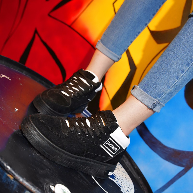 Casual Women Shoes Lace Up Breathable Platform High Top Casual Shoes KUYUPP 2016 Spring Autumn Fashion Lace Up Skate Shoes YD158 (42)