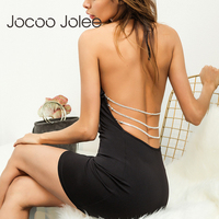 Jocoo jolee vestido backless atractivo para las mujeres Halter Masajeadores de cuello Encaje-up Cuerpo vestido del Club del partido del vendaje de la cadena del arco de la vendimia vestidos 2018 nuevo