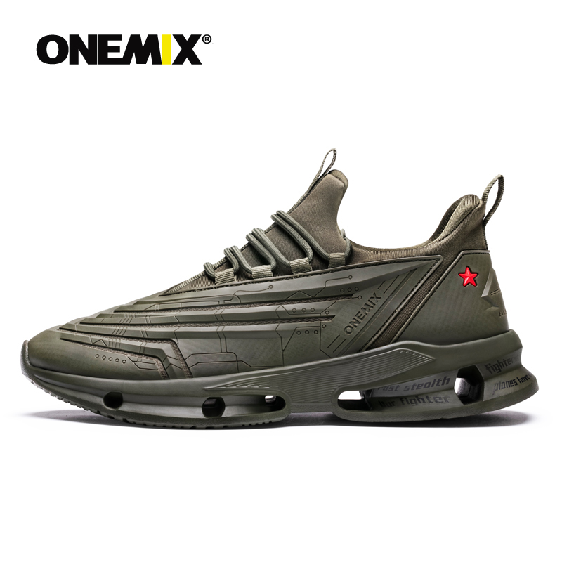 ONEMIX Men's Running Shoes Bullet Sneakers Outdoor Jogging Leather Waterproof Sports Working Trekking Technology Sneaker for Men-in Running Shoes from Sports & Entertainment    1