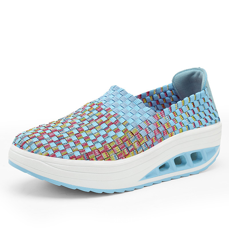 2019 New Hand-woven Breathable Shake Shoes Hollow Mesh Shoes Thick Sole Air Cushion Lady Casual Shoes Women Shoe