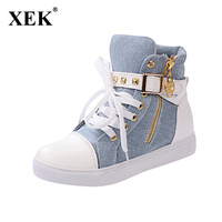 Size 36 40 New 2015 Womens Flats High Top Flats Quality Zipper Canvas Rivet Leather Shoes