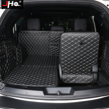 JHO Trunk Mats Cargo Area Protector For Ford Explorer 2011-18 13 14 15 16 17 7 Seats Leather Liner Carpets Cover Car Accessories