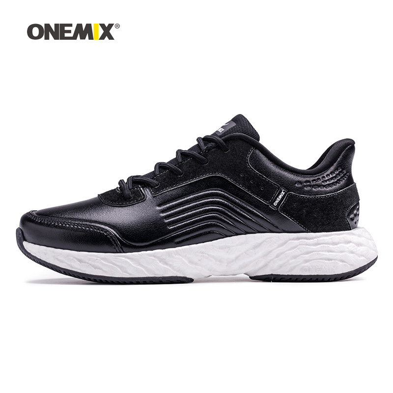 Onemix Men Running Shoes For Women Black Leather Air Trail Athletic Sneakers Sports Outdoor Gym Fitness