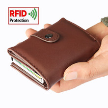 2019 Aluminium Alloy Credit Card Holder Luxury RFID Blocking PU Leather Wallet Automatic Pop Up Case