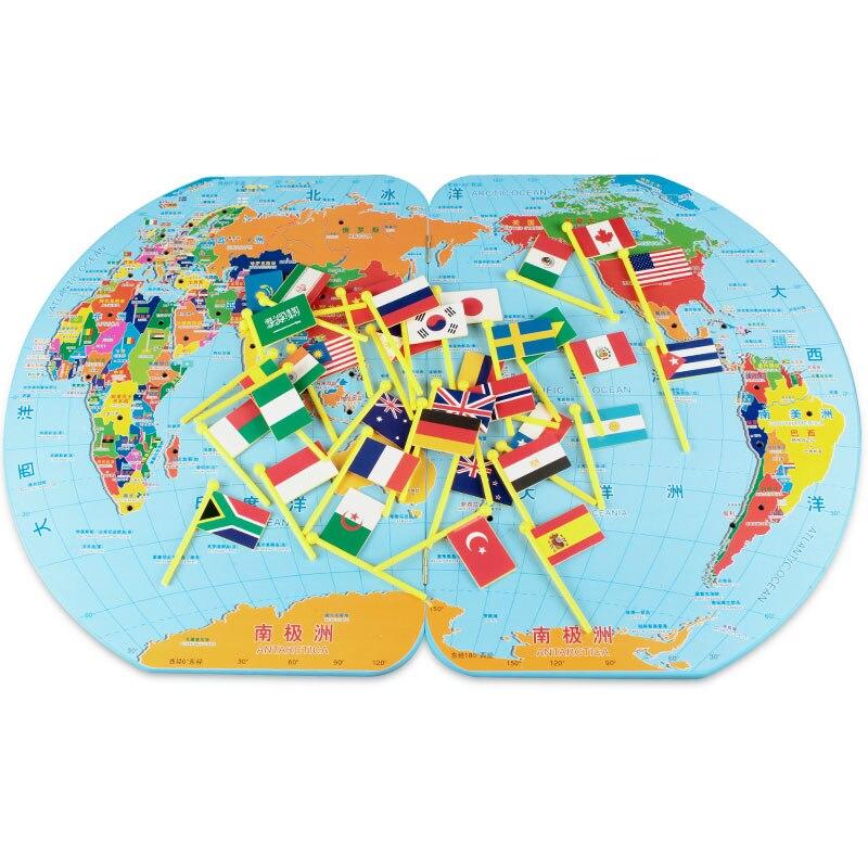 Matériel d'apprentissage en bois Montessori carte du monde Montessori jouets éducatifs préscolaires Juguetes Brinquedos MG2344H
