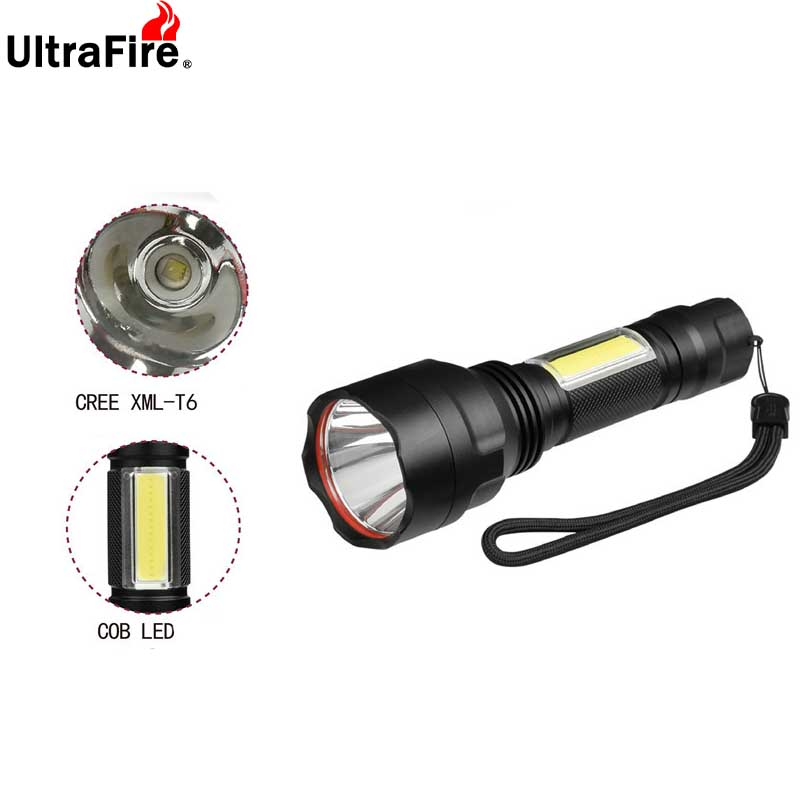 Ultrafire C8 T6 + COB Work Light LED Emergency Flash Light 4 Mode Torch Lantern Hunting Tactical Camping Luz18650 Glare Flashlig