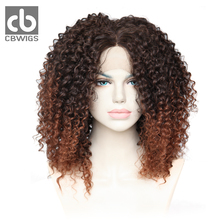 CBCBWIGS #2/30 Ombre Brown 16inch 150% Density Natural Hairline Middle Part Kanekalon Women Kinky Curly Synthetic Lace Front Wig